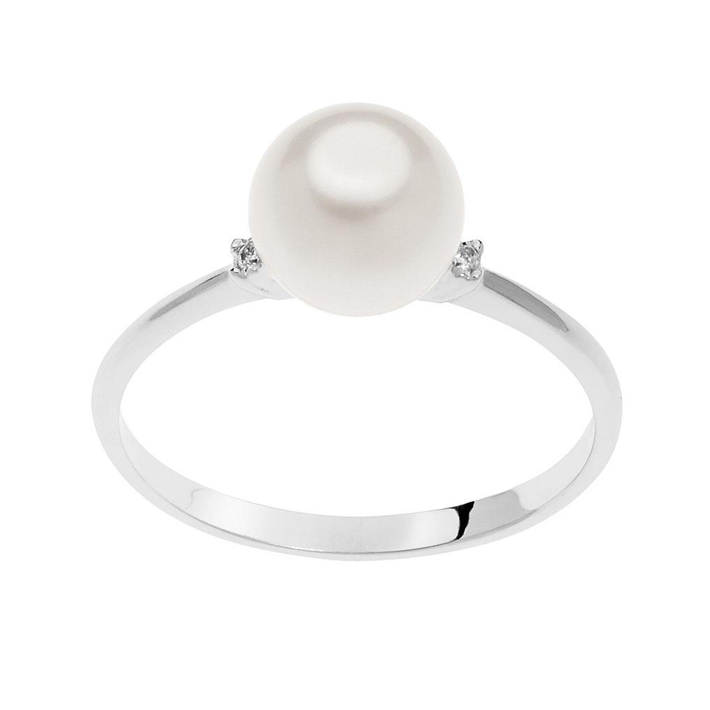 anello comete gioielli oro bianco perla bianca coltivata freshwater acquadolce diamanti