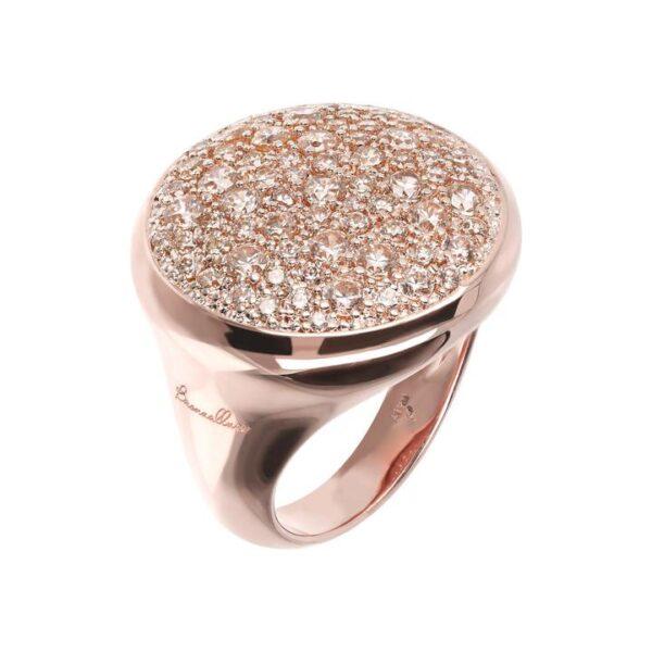 anello oro rosa bronzallure pavè morganite rosa