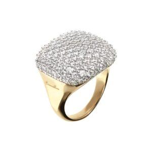 anello bronzallure pavè quadrato oro gold zirconi