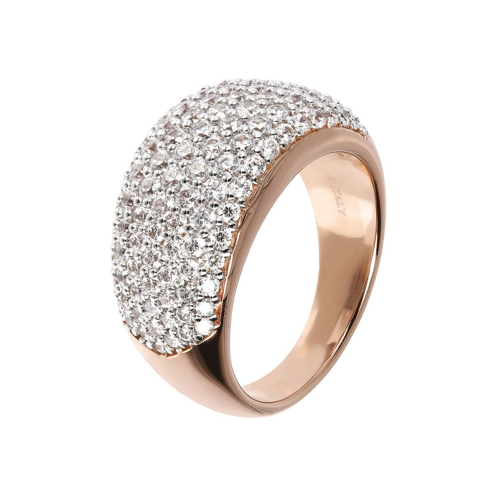 anello bronzallure rosegold pavè zirconi bianchi fascia