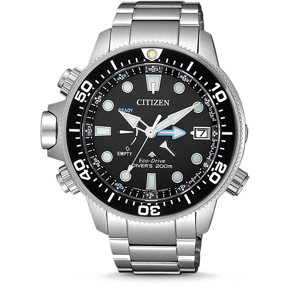 citizen orologio promaster aqualand ecodrive diver's acciaio quadrante nero bracciale acciaio