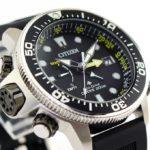 orologio uomo citizen promaster aqualand ecodrive acciaio diver cinturino poliuretano quadrante nero