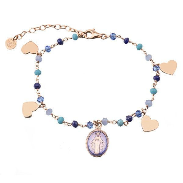 bracciale rosario madonna lourdes cristalli azzurri argento