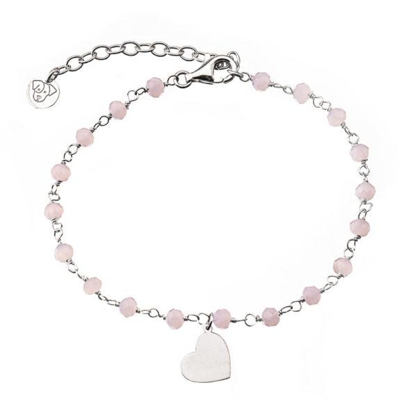 bracciale rosario cuore argento cristalli rosa