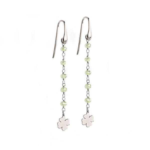 orecchini lunghi argento cristalli verdi e quadrifogli
