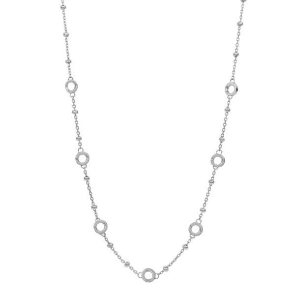 collana catena pallini 7 charms argento rosato
