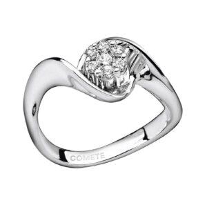 anello comete gioielli solitario rosa diamanti oro bianco