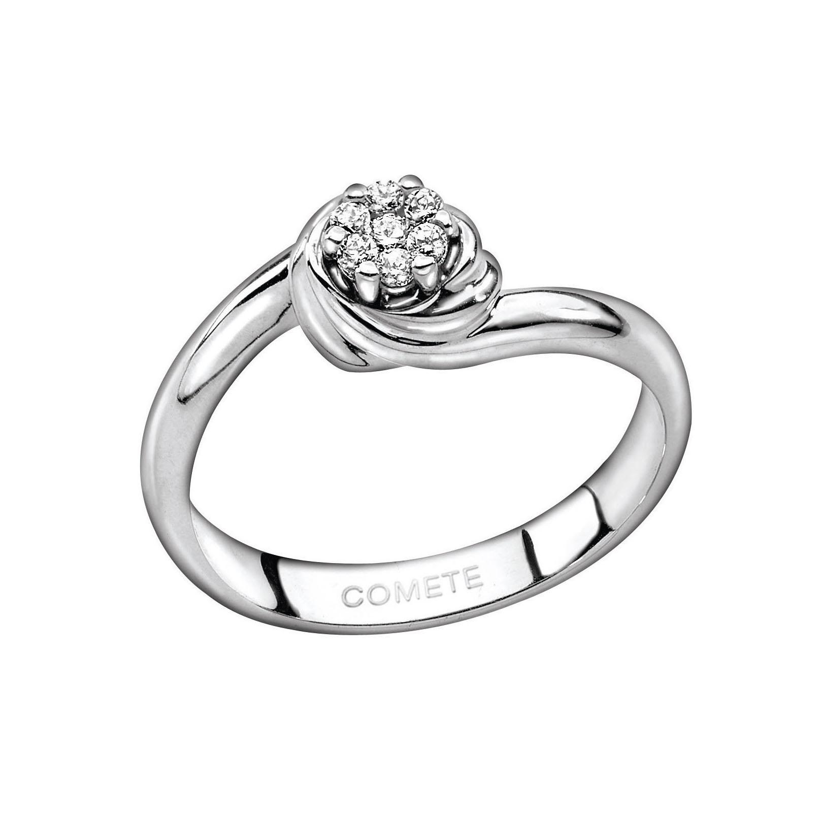 anello solitario comete gioielli oro bianco rosa di diamanti