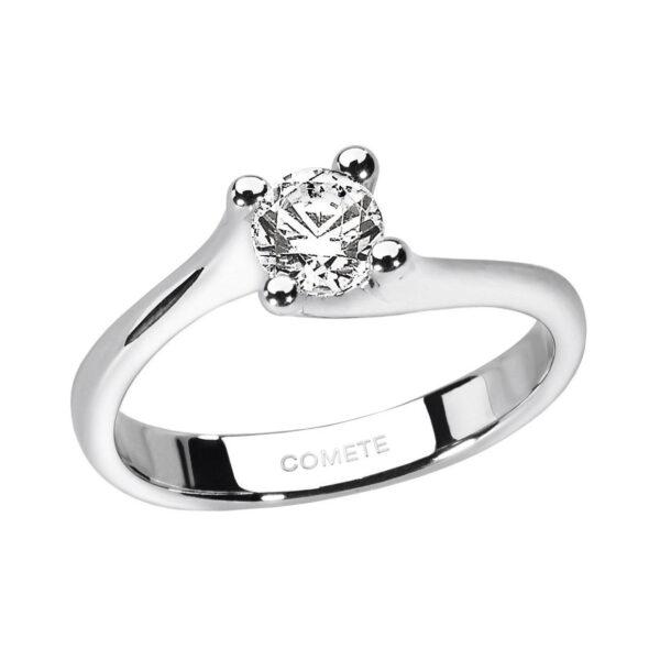 anello solitario diamante oro bianco