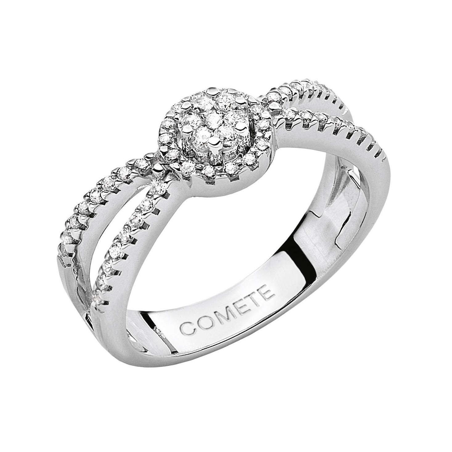 anello comete diamanti oro bianco