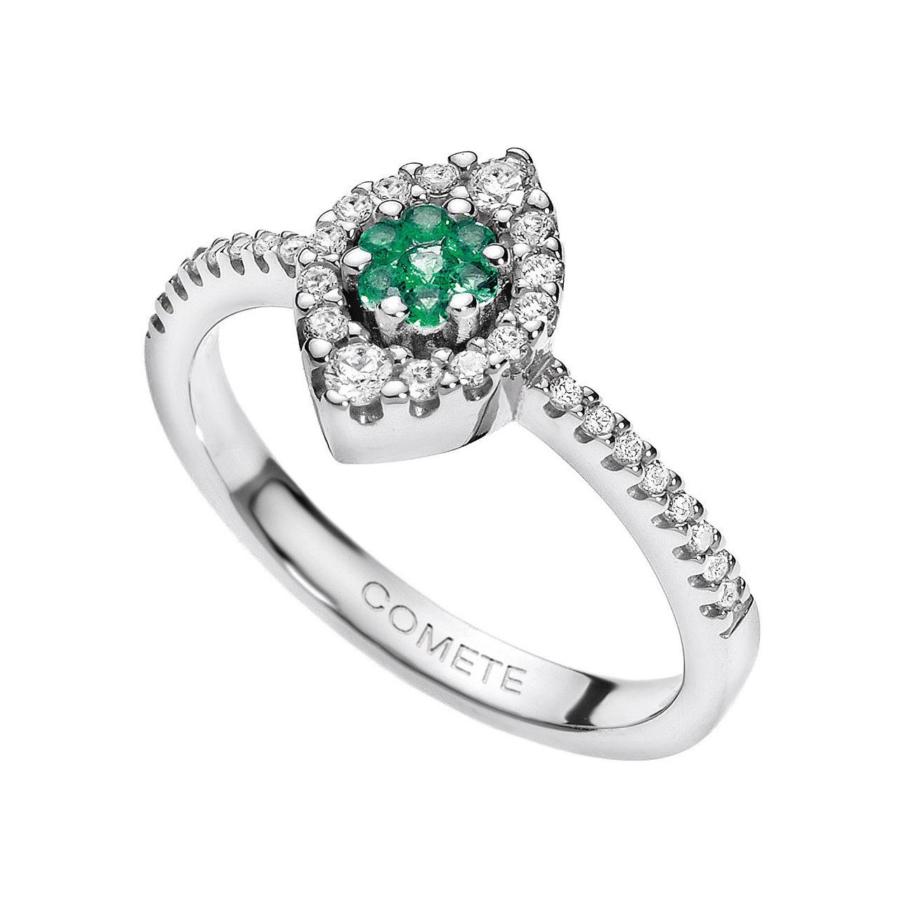 anello comete gioielli diamanti smeraldi verdi pietre oro bianco