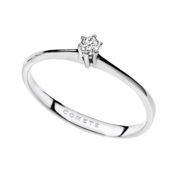 anello comete solitario diamante oro bianco