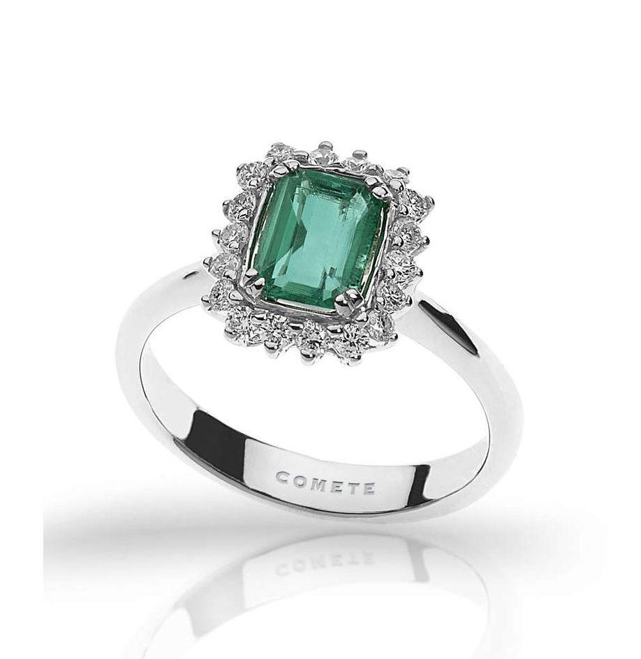 anello comete gioielli oro bianco diamanti smeraldo verde cestino