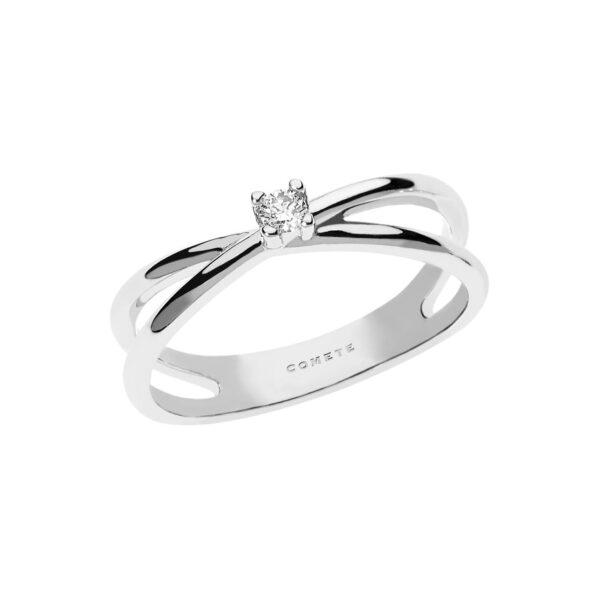 anello comete gioielli solitario oro bianco