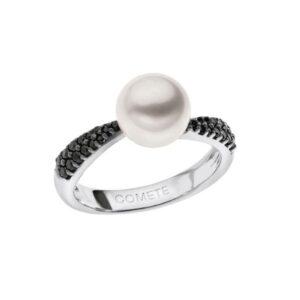 anello comete gioielli perla bianca oro bianco diamanti neri