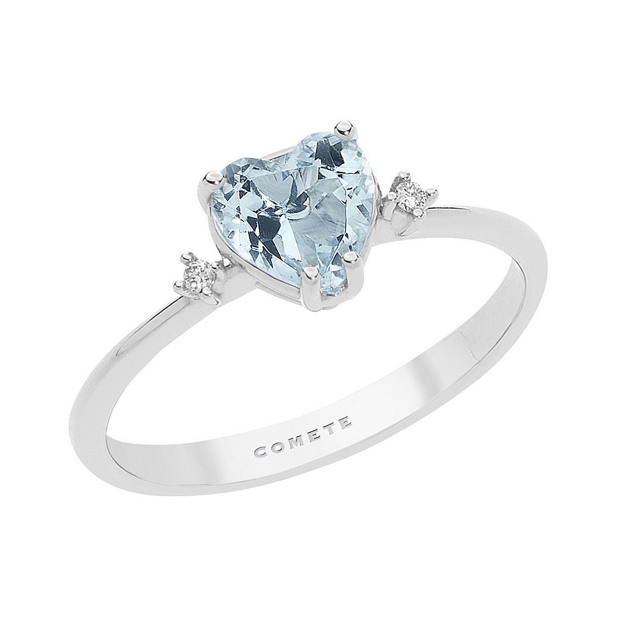 anello acquamarina taglio cuore e diamanti oro bianchi comete gioielli