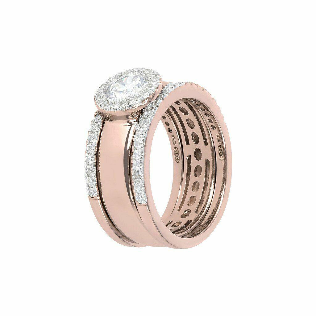 anello bronzallure triplo componibile rosegold zirconi