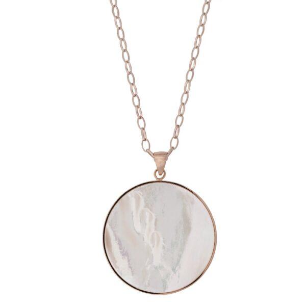 collana pendente madreperla bianca bronzallure rosegold