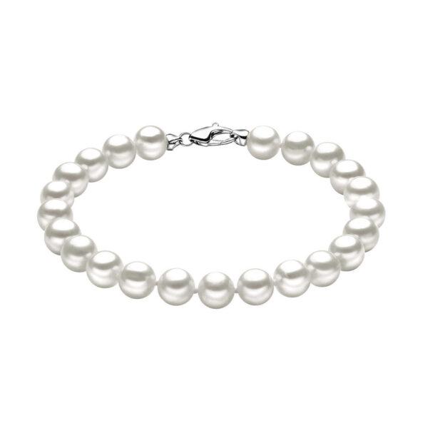 bracciale comete oro bianco perle bianche tonde