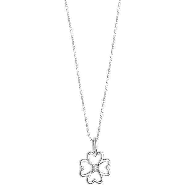 collana comete pendente quadrifoglio oro bianco diamante