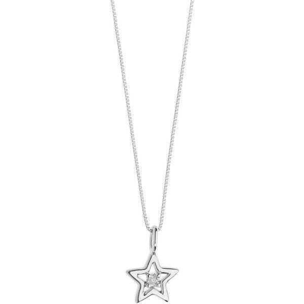 collana comete in oro bianco ciondolo stella con diamante simboli