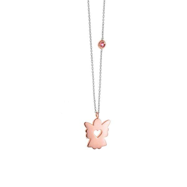 collana comete oro bianco oro rosa angelo pendente zaffiro rosa