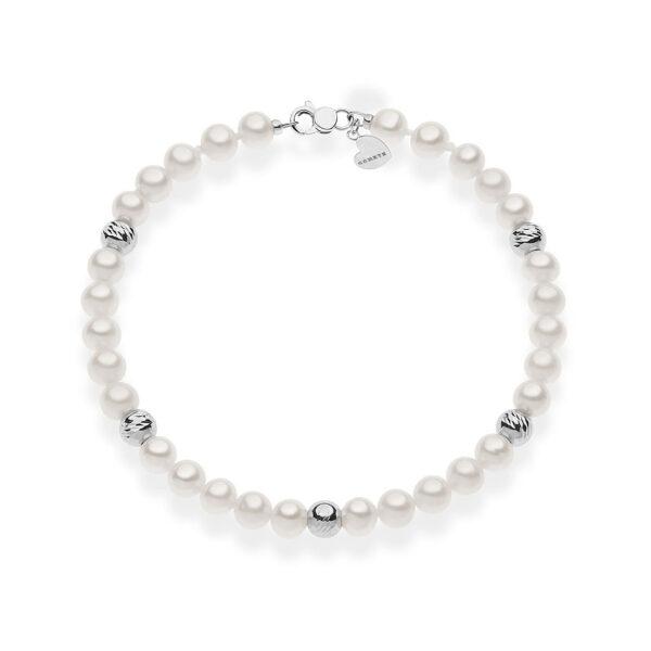 bracciale comete gioielli perle bianche tonde sfere zigrinate oro bianco