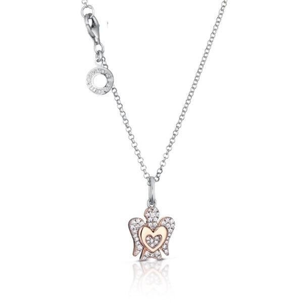 collana giannotti argento rosato angelo pendente cuore zirconi