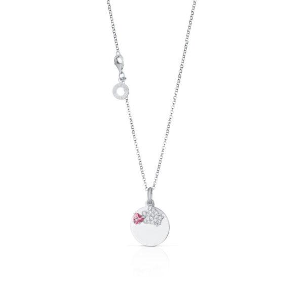 collana giannotti argento piastrina angelo zirconi topazio rosa