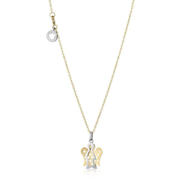 collana giannotti pendente angelo traforato stelle oro bianco giallo