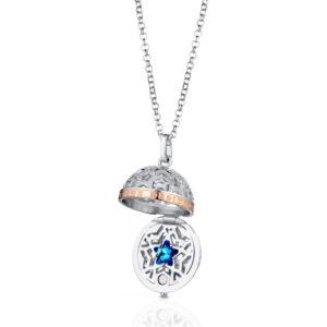 collana giannotti pendente a srigno chiama desideri argento rosato zirconi swarovski blu stella