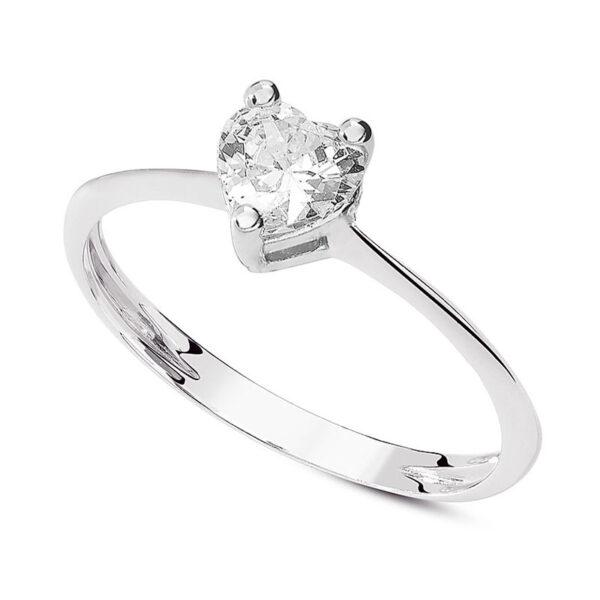 anello solitario oro bianco cuore fidanzamento