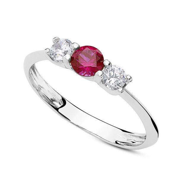 anello tre pietre oro bianco zirconi rosso