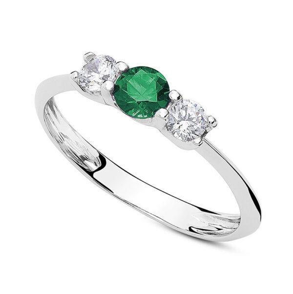 anello tre pietre oro bianco zirconi verde
