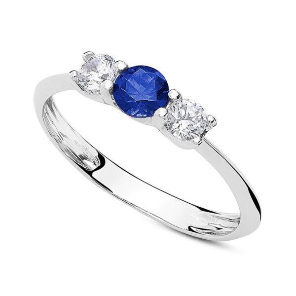 anello tre pietre oro bianco zirconi blu