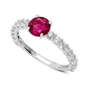 anello fidanzamento oro bianco zircone rosso