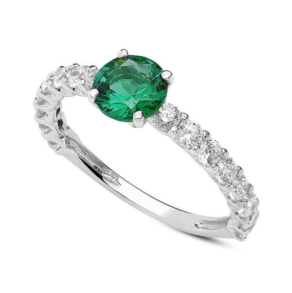 anello fidanzamento oro bianco zircone verde