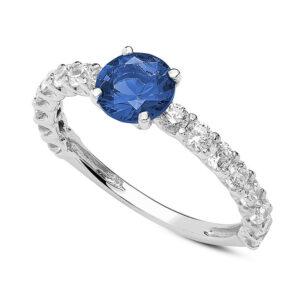 anello fidanzamento oro bianco zircone blu