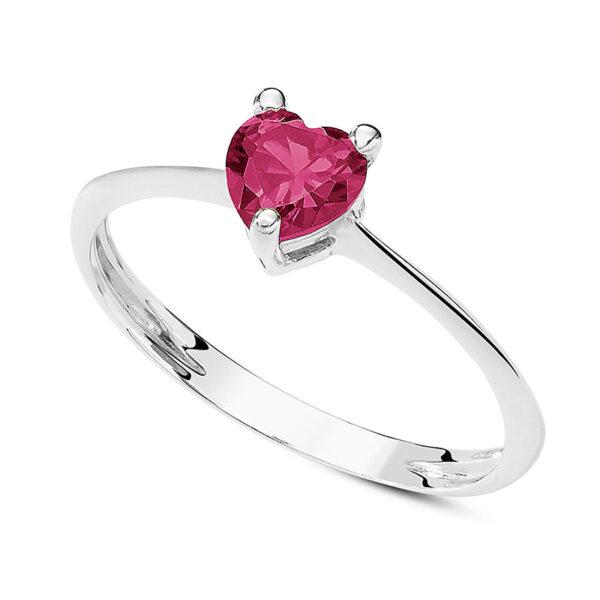 anello oro bianco cuore rosso