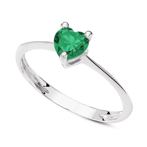 anello oro bianco cuore verde