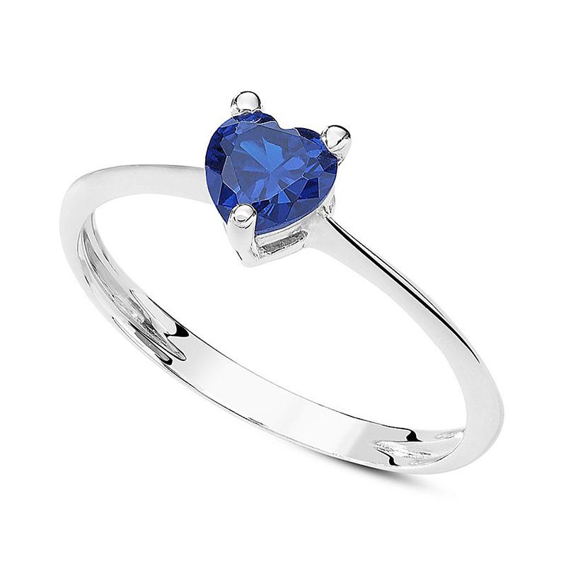 anello oro bianco cuore blu