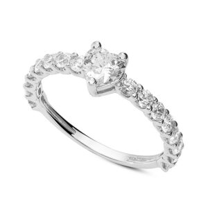 anello fidanzamento oro bianco zircone cuore