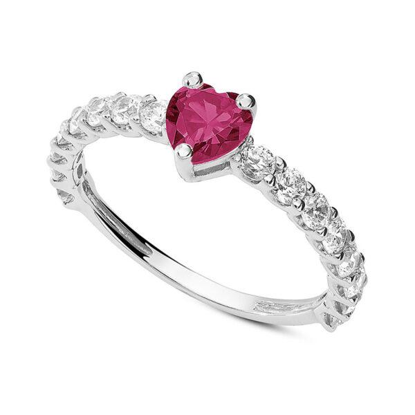 anello fidanzamento oro bianco zircone cuore rosso