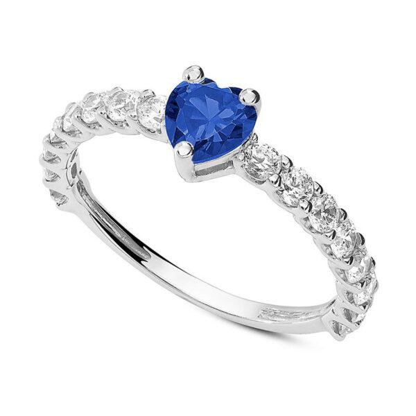 anello fidanzamento oro bianco zircone cuore blu