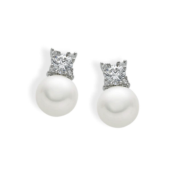 orecchini perle e zirconi in oro bianco