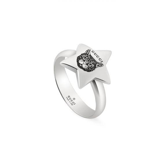 anello gucci argento stella gatto blid for love