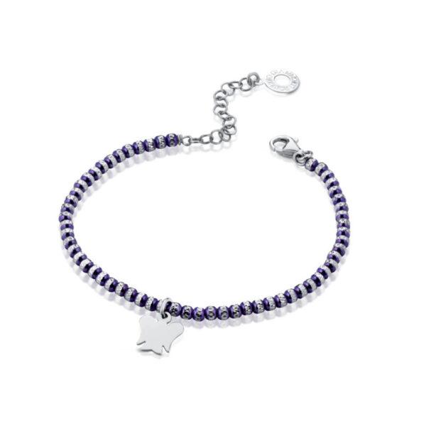 bracciale giannotti argento sfere diamantate viola lilla pendente angelo