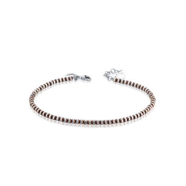 bracciale giannotti argento sfere diamantate marroni angelo pendente