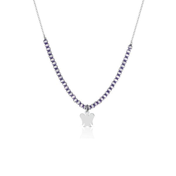 collana roberto giannotti argento sfere diamantate viola angelo pendente
