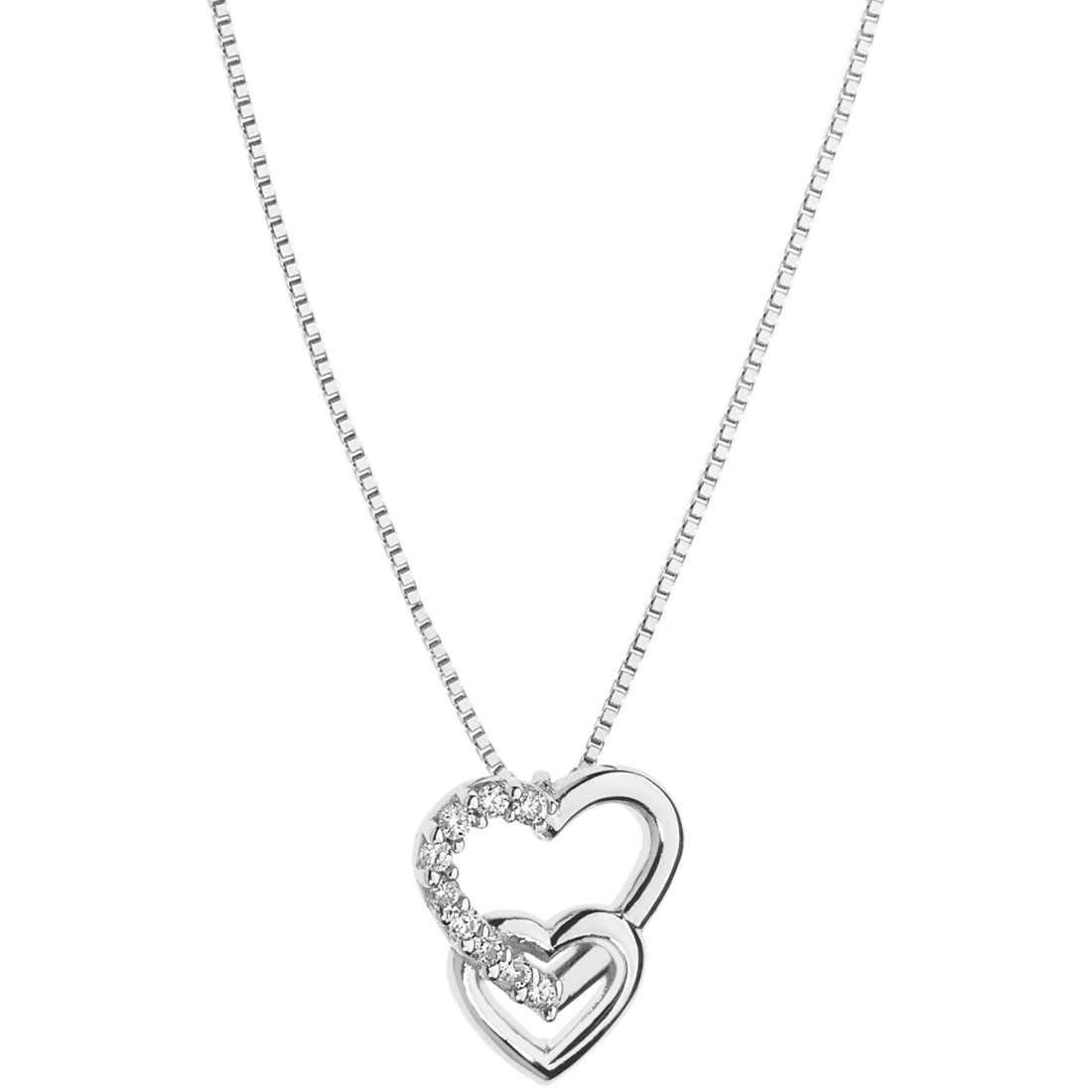 collana comete pendente doppio cuore intrecciato oro bianco e diamanti